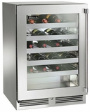 """HP24WO34R Perlick 24"""" Signature Series Outdoor Stainless Wine Reserve with Integrated Wood Overlay Glass Door - Right Hinge"""
