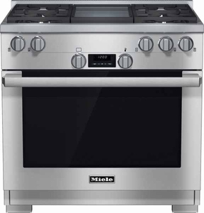 """HR11361GD Miele 36"""" All Natural Gas Range with M Pro Dual Stacked Burner System - Stainless Steel"""
