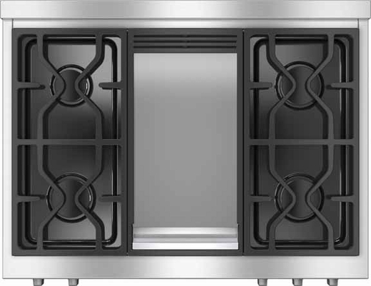 """HR1136LPGD Miele 36"""" All Gas Range with LP Gas M Pro Dual Stacked Burner System - Stainless Steel"""