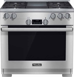 "HR1136LPGD Miele 36"" All Gas Range with LP Gas M Pro Dual Stacked Burner System - Stainless Steel"