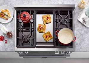 "HR1956DFGDLP Miele 48"" Dual Fuel LP Gas Range with Touch Speed Oven - Stainless Steel"
