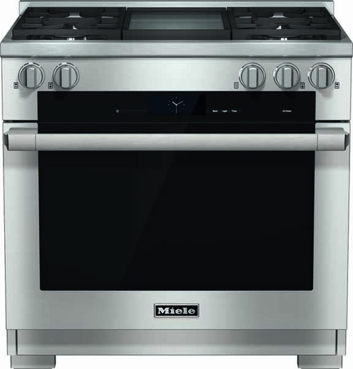 """HR1936DFGDLP Miele 36"""" Dual Fuel LP Gas Range with Pro Infared Griddle - Stainless Steel"""
