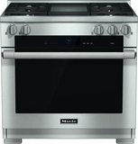 "HR1936DFGDLP Miele 36"" Dual Fuel LP Gas Range with Pro Infared Griddle - Stainless Steel"