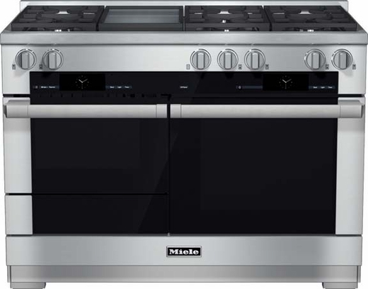 "HR1956DFGD Miele 48"" Dual Fuel Natural Gas Range with Touch Speed Oven - Stainless Steel"