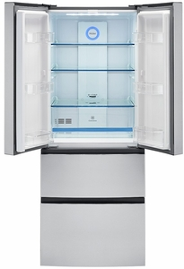 "HRF15N3AGS Haier 28"" French Door 14.9 Cu. Ft. Counter Depth Refrigerator with Adjustable Tempered Glass Shelves - Stainless Steel"