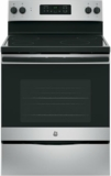 "JB625GKSA GE 30""  Free Standing Electric Range with 4 Smoothtop Elements and Dual 4-Pass Heating Elements - Silver"