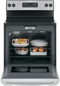 "JB625RKSS GE 30""  Free Standing Electric Range with 4 Smoothtop Elements and Dual 4-Pass Heating Elements - Stainless Steel"