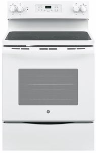 "JB645DKWW GE 30"" Freestanding Electric Range with Ceramic Glass Cooktop - White"