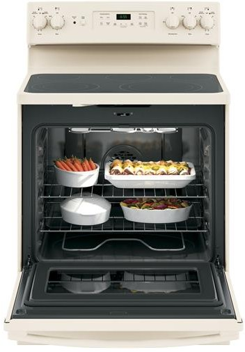 "JB655DKCC GE 30"" Freestanding Electric Range with Convection & Fifth Element - Bisque"