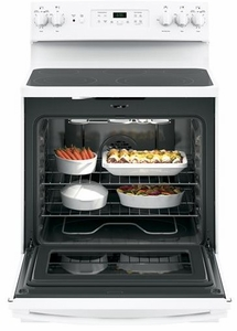 """JB655DKWW GE 30"""" Freestanding Electric Range with Convection & Fifth Element - White"""