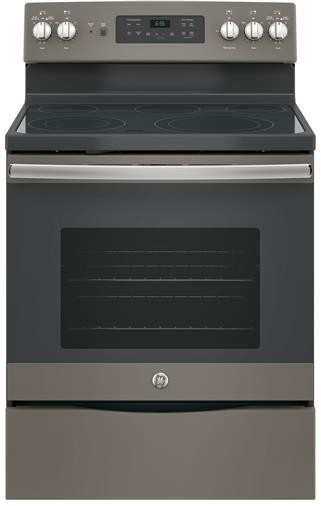 "JB655EKES GE 30"" Freestanding Electric Range with Convection & Fifth Element - Slate"
