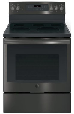 "JB750BJTS GE 30"" Free-Standing Electric Convection Range with Precise Air and True European Convection - Black Stainless Steel"