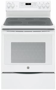 """JB750DJWW GE 30"""" Free-Standing Electric Convection Range with Precise Air - White"""
