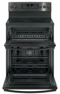 """JB860BJTS GE 30"""" Free-Standing Electric Double Oven Convection Range  with Self Clean and Dual Element Bake - Black Stainless Steel"""