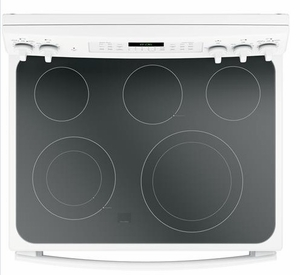 """JB860DJWW GE 30"""" Free-Standing Electric Double Oven True European Convection Range with Self Clean Oven and Fifth Element Warming Zone - White"""