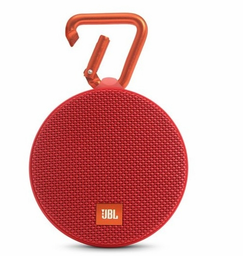 JBLCLIP2REDAM  JBL Wireless Speaker with Mic For Speakerphone Calls and Built-In Rechargeable Battery - Red