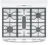 "JGB660DEJWW GE 30"" Free-Standing Gas Range with Edge-to-edge Cooktop and Precise Simmer Burner - White"