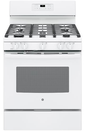 """JGB660DEJWW GE 30"""" Free-Standing Gas Range with Edge-to-edge Cooktop - White"""