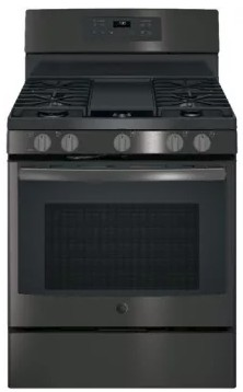 "JGB700BEJTS GE 30"" Free-Standing Gas Convection Range with Edge-to-edge Cooktop - Black Stainless Steel"