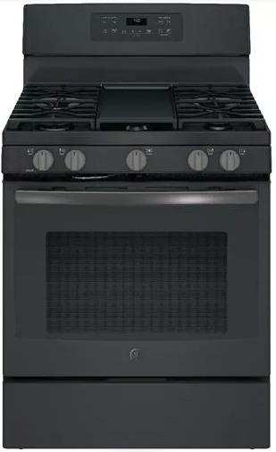 """JGB700FEJDS GE 30"""" Freestanding Gas Range with Extra-Large Integrated Non-Stick Griddle and Self-Clean with Steam Clean Option - Black Slate"""