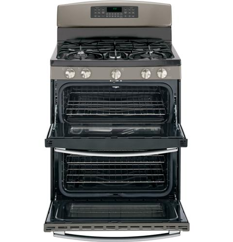 "JGB850EEFES GE 30"" Free-Standing Gas 6.8 Cu. Ft. Double Oven Range with 17,000 BTU Power Boil Burner - Slate"