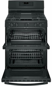 "JGB860DEJBB GE 30"" Free-Standing Gas Double Oven Range with Edge To Edge Cooktop and Self Clean Oven - Black"