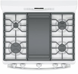 "JGB860DEJWW GE 30"" Free-Standing Gas Double Oven Convection Range with Edge To Edge Cooktop - White"