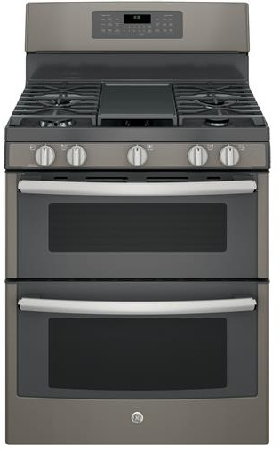 """JGB860EEJES GE 30"""" Free-Standing Gas Double Oven Convection Range with Edge-to-edge Cooktop - Slate"""