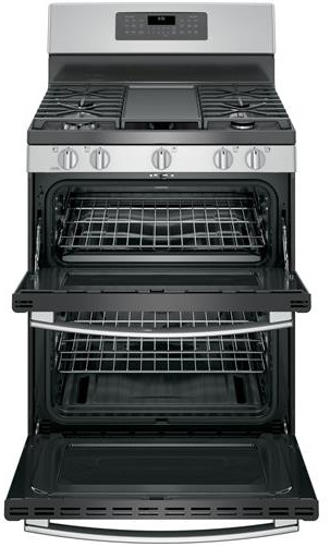 """JGB860SEJSS GE 30"""" Free-Standing Gas Double Oven Convection Range with Edge-to-edge Cooktop - Stainless Steel"""