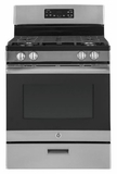 "JGBS62REKSS GE 30"" Free-Standing Gas Range with Steam Clean and 4 Sealed Cooktop Burners  - Stainless Steel"