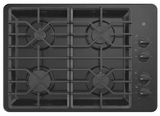 """JGP3030DLBB GE 30"""" Built-In Deep Recessed Gas Cooktop with Sealed Cooktop Burners and Heavy-Duty Dishwasher Safe Grates - Black"""