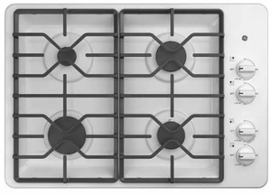 """JGP3030DLWW GE 30"""" Built-In Deep Recessed Gas Cooktop with Sealed Cooktop Burners and Heavy-Duty Dishwasher Safe Grates - White"""