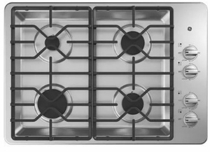 "JGP3030SLSS GE 30"" Built-In Deep Recessed Gas Cooktop with Sealed Cooktop Burners and Heavy-Duty Dishwasher Safe Grates - Stainless Steel"