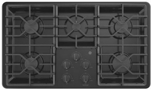 "JGP3036DLBB GE 36"" Built-In Deep Recessed Gas Cooktop with Sealed Cooktop Burners and Heavy-Duty Dishwasher Safe Grates - Black"