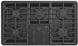 """JGP3036DLBB GE 36"""" Built-In Deep Recessed Gas Cooktop with Sealed Cooktop Burners and Heavy-Duty Dishwasher Safe Grates - Black"""