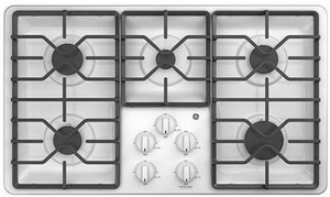"""JGP3036DLWW GE 36"""" Built-In Deep Recessed Gas Cooktop with Sealed Cooktop Burners and Heavy-Duty Dishwasher Safe Grates - White"""