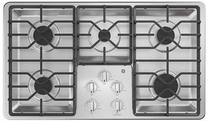 """JGP3036SLSS GE 36"""" Built-In Deep Recessed Gas Cooktop with Sealed Cooktop Burners and Heavy-Duty Dishwasher Safe Grates - Stainless Steel"""