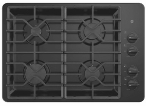 """JGP3530DLBB GE 30"""" Built-In Gas Cooktop with 4 Sealed Burners and Heavy Duty Grates - Black"""