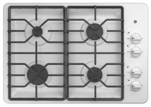 """JGP3530DLWW GE 30"""" Built-In Gas Cooktop with 4 Sealed Burners and Heavy Duty Grates - White"""