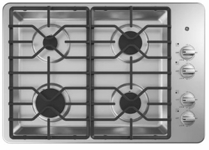 "JGP3530SLSS GE 30"" Built-In Gas Cooktop with 4 Sealed Burners and Heavy Duty Grates - Stainless Steel"