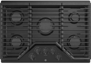 """JGP5030DLBB GE 30"""" Built-In Gas Cooktop with Sealed Cooktop Burners and Heavy-Cast Edge-to-Edge Grates - Black"""