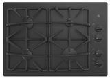 """JGP5530DLBB GE 30"""" Built-In Gas on Glass Cooktop with Sealed Cooktop Burners and Continuous Grates - Black"""