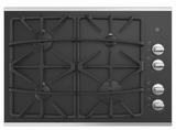 """JGP5530SLSS GE 30"""" Built-In Gas on Glass Cooktop with Sealed Cooktop Burners and Continuous Grates - Stainless Steel"""