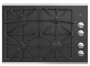 "JGP5530SLSS GE 30"" Built-In Gas on Glass Cooktop with Sealed Cooktop Burners and Continuous Grates - Stainless Steel"