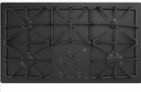 """JGP5536DLBB GE 36"""" Built-In Gas on Glass Cooktop with Sealed Cooktop Burners and Continuous Grates - Black"""