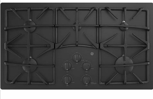 "JGP5536DLBB GE 36"" Built-In Gas on Glass Cooktop with Sealed Cooktop Burners and Continuous Grates - Black"
