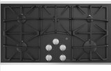 """JGP5536SLSS GE 36"""" Built-In Gas on Glass Cooktop with Sealed Cooktop Burners and Continuous Grates - Stainless Steel"""