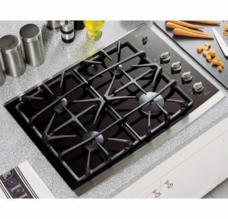 GE Profile 30 Gas on Glass Cooktop 4 Sealed Burners Control Lock ADA Compliant Black Surface with Stainless Steel Trim JGP940SEKSS