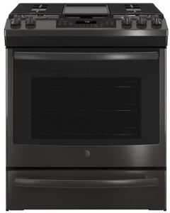 """JGS760BELTS GE 30"""" Slide-In Front Control Gas Range with Convection and Self-Clean - Black Stainless Steel"""