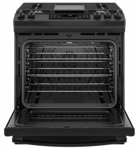 """JGS760DELBB GE 30"""" Slide-In Front Control Gas Range with Convection and Self-Clean - Black"""